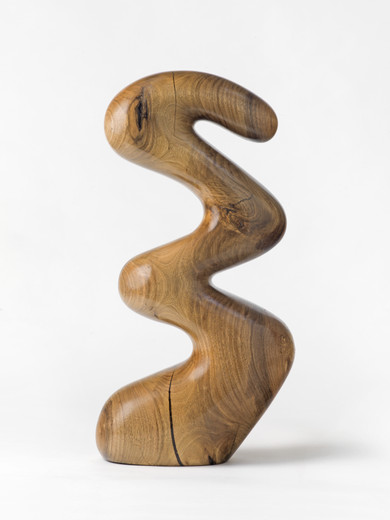 Claudia Comte, The Evil Snake, sculpture: walnut wood; plinth: spruce, 2018, 58 x 23 x 15 cm, unique