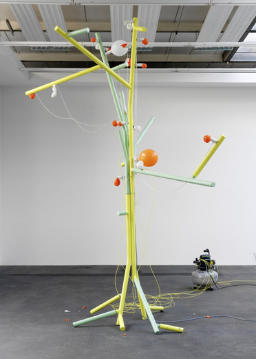 Andreas Zybach, Untitled, powder coated aluminium, cable, air compressor, electric electric control unit, 12 balloon, 2011, 355 x 340 cm dimensions variable, unique
