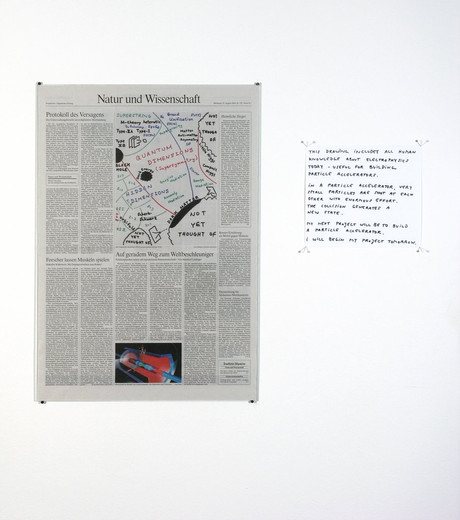 Nora Schultz, Particle Accelerator, newspaper extract, handwritten text, 2005