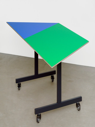 Amalia Pica, Conference table #7, wood, formica laminate, metal, 2020, 72.5 x 160 x 69.2 cm, 1/3 + 2AP