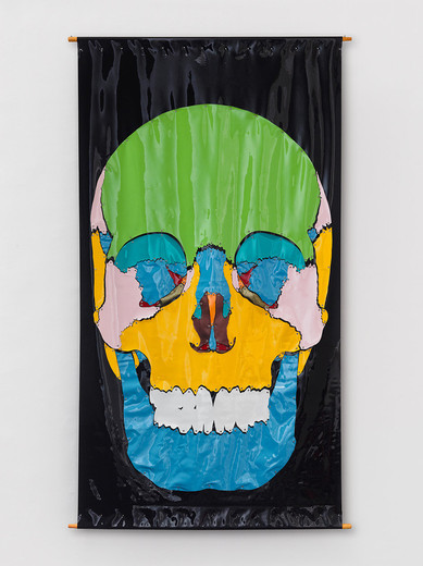 Kiki Kogelnik, Skull, mixed media with sheet vinyl, 1970, 226 x 122 cm, unique