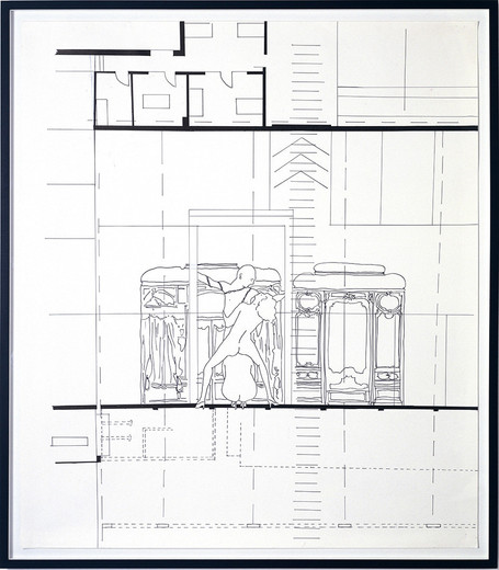 Monica Bonvicini, Three People at the..., tempera marker on Fabriano paper, framed, 2002, 150 x 130 cm