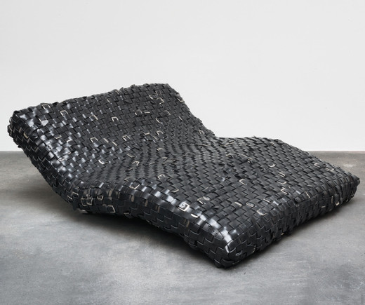 Monica Bonvicini, Belts Couch, 2014, 67 x 160 x 190 cm, work with unique character from an ongoing series