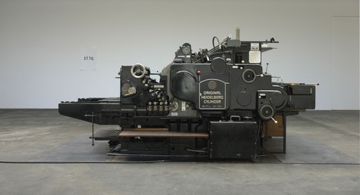 Kris Martin, ET TU, Heidelberg press, print on paper, 2006, 180 x 360 x 157 cm
