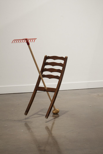 "<span class=""artists work-caption"">Amalia Pica</span><span class=""title work-caption"">Catachresis #35 (legs of the chair, teeth of the rake, eye of the potato, eye of the needle)</span><span class=""technique work-caption"">found materials</span><span class=""year work-caption"">2013</span><span class=""dimensions work-caption"">108 x 79 x 36 cm</span>"