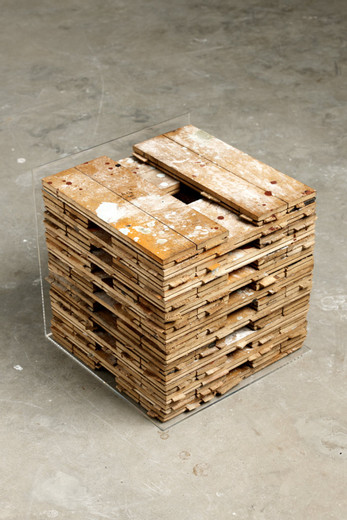 """<span class=""""artists work-caption"""">Johannes Wohnseifer</span><span class=""""title work-caption"""">A Mine as Deep As Time (Stacked Studio Floor)</span><span class=""""technique work-caption"""">wood, lacquer, Plexiglas, diamonds</span><span class=""""year work-caption"""">2011</span><span class=""""dimensions work-caption"""">37 x 37 x 37 cm</span><span class=""""edition work-caption"""">Series of 7 with unique character</span>"""