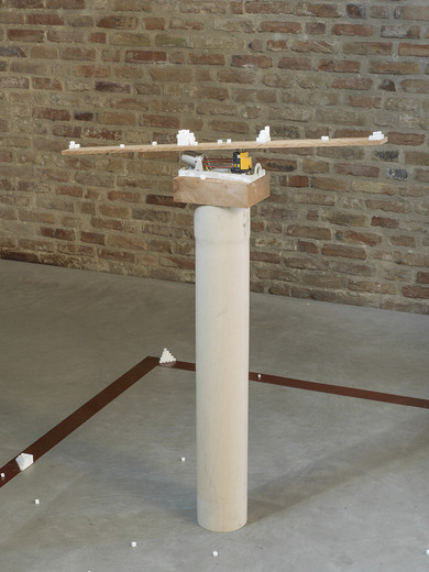 MICOL ASSAËL, Neutro, marble, electrical components, wood, water conduit, 2016, 128,5 x 100 x 17 cm Position of marble cubes variable, unique