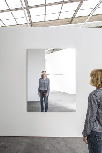 Jeppe  Hein, Horizontal Cut, mirror foil on aluminium frame, 2016, 170 x 130 x 4 cm, unique