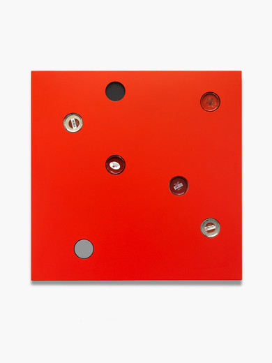 Johannes Wohnseifer, Farbtafel (RAL 3020), aluminium powder coated, can, MDF, 2012, 100 x 100 x 4 cm, unique