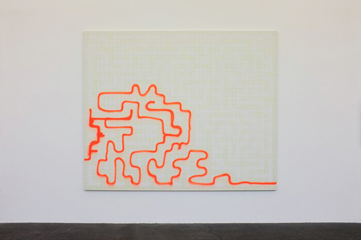 "<span class=""artists work-caption"">Michael Sailstorfer</span><span class=""title work-caption"">Maze 24</span><span class=""technique work-caption"">phosphorescent acrylic and spray paint on canvas</span><span class=""year work-caption"">2012</span><span class=""dimensions work-caption"">190 x 230 cm</span><span class=""edition work-caption"">unique</span>"