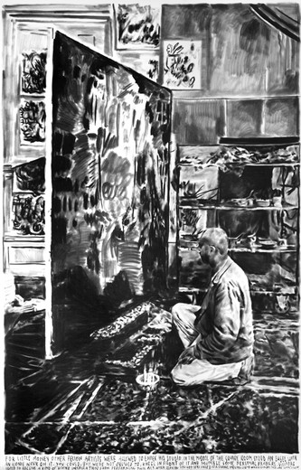 , For little money other fellow artists were allowed to enter his studio…, charcoal on paper, 2016, 190 x 295 cm, unique