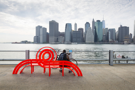 Jeppe  Hein, Modified Social Bench NY #2, powder coated aluminium, 2015, 144 x 354 x 94 cm, I/II (3)