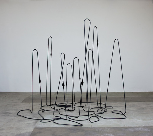 "<span class=""artists work-caption"">Tatiana Trouvé</span><span class=""title work-caption"">Untitled (ref: cable 9)</span><span class=""technique work-caption"">metal, rubber</span><span class=""year work-caption"">2009</span><span class=""dimensions work-caption"">213 x 250 x 263 cm</span><span class=""edition work-caption"">unique</span>"