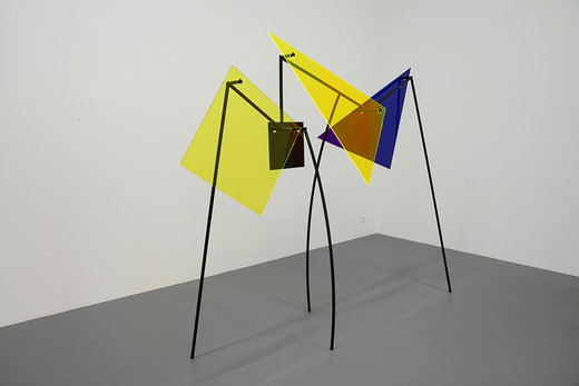 """Amalia Pica, A∩B∩C∩A∩B∩C, Two-channel video projection with sound in cooperation with Rafael Ortega: 16:9, HD video, 46:23 min. two sculptures colour coated steel, coloured perspex, 2014, """"Mirediro"""": 165 x 1 6 x 63 cm; """"Similama"""": 204 x 242 x 68 cm, unique"""