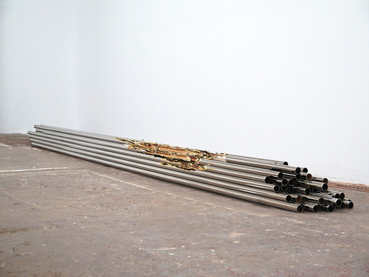 Daniel Turner, Untitled, nickel, brass,  adhesive tape, 2015, 25.5 x 406.5 x 33 cm, unique