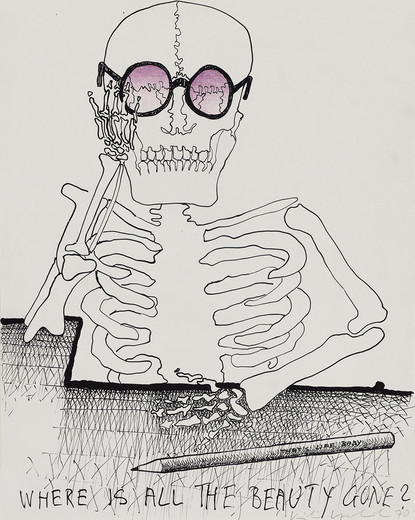 Kiki Kogelnik, Where is all the Beauty Gone, ink and colored pencil on paper, 1970, 35 x 28 cm