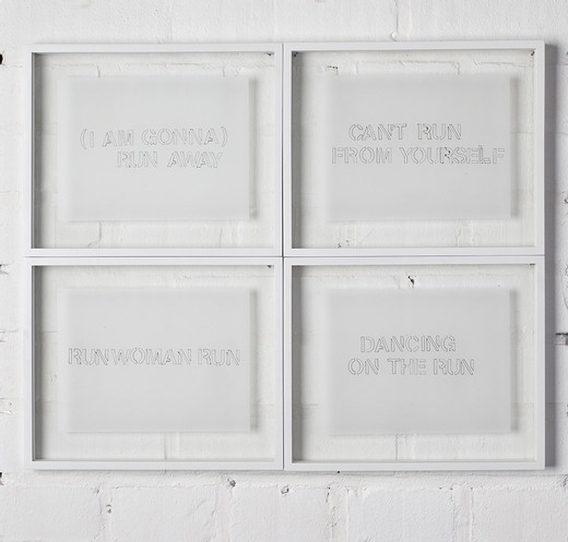 Monica Bonvicini, Run, 24 drawings, permanent ink on tracing paper, framed, 2000, 15.5 x 21 cm, 8/15 + 5 AP with unique character