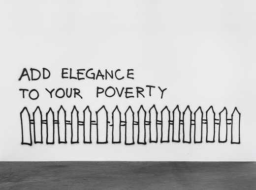 Monica Bonvicini, Add Elegance to Your Poverty, graffiti, black spray paint, 2002, dimensions variable, 2/3 + 1AP