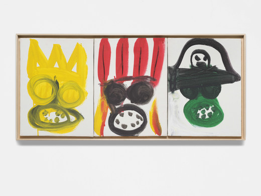 Karl Horst Hödicke, Purim (König, Indianer, Pirat), synthetic resin on canvas, 3 parts, framed, 1991, each 40 x 30 cm; 15 3/4 x 11 3/4 in framed 43 x 93 x 3.7 cm; 17 x 36 2/3 x 1 1/2 in , unique