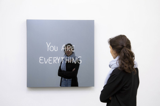 Jeppe  Hein, YOU ARE EVERYTHING (handwritten), powder coated aluminium, neon tubes, two-way mirror, powder coated steel, transformers, 2019, 100 x 100 x 10 cm