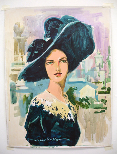 Tim Braden, Woman with feathered hat, acrylic and gouache on illustrator's card (unframed, pinned to the wall), 2006, 66 x 50 cm