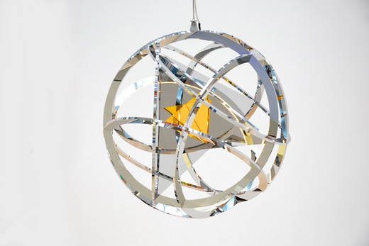 Jeppe Hein, Solar Plexus Chakra, high polished stainless steel, aluminium, acrylic glass, LED, 2015,  Ø 100 cm, 2/3 + 2AP