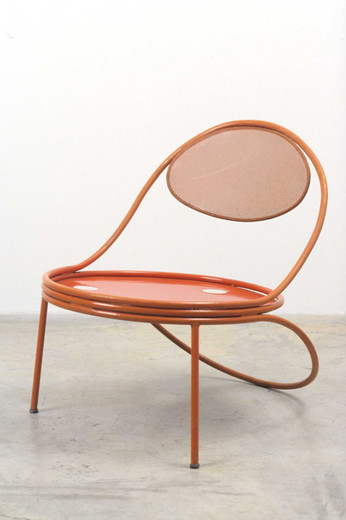 "Mathieu Matégot, ""Copacabana"""" armchair"", perforated steel, leather, 1954 - 1955, 72 x 57 x 71 cm"