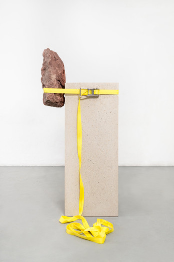 Jose  Dávila, The Act of Perseverance VII, concrete, stone and ratchet strap, 2019, 189 x 83.70 x 74.50 cm, unique