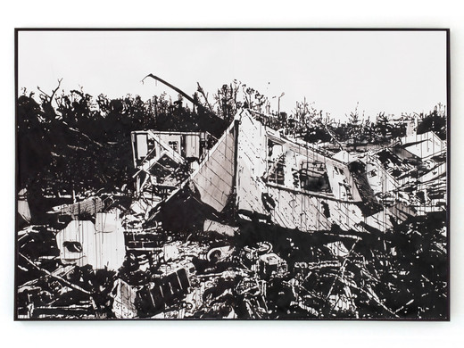 Monica Bonvicini, Mississippi 2014, 2 parts, tempera and spray paint on Fabriano paper on canvas, framed, 2016, 200 x 300 cm, unique