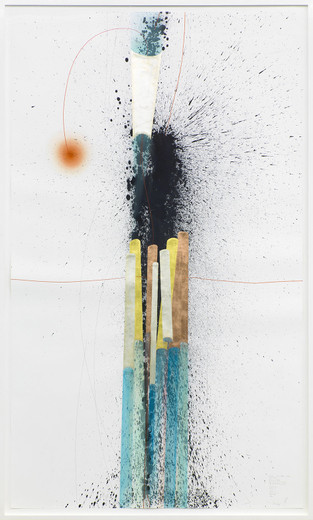 Jorinde Voigt, A Difference that makes a Difference + Tube + Focus, ink, gold leaves, copper foil, oil crayon, pastel, Chinese ink, pencil on paper, framed, 2014, 240 x 140 cm, unique