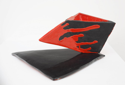 Mary Heilmann, Hellfire Series #2, glazed ceramic, 1984, 14 x 27.3 x 27.3 cm