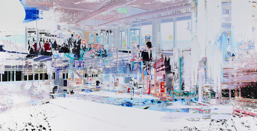Corinne Wasmuht, Gate 77, oil on wood, 2012, 227 x 447 cm