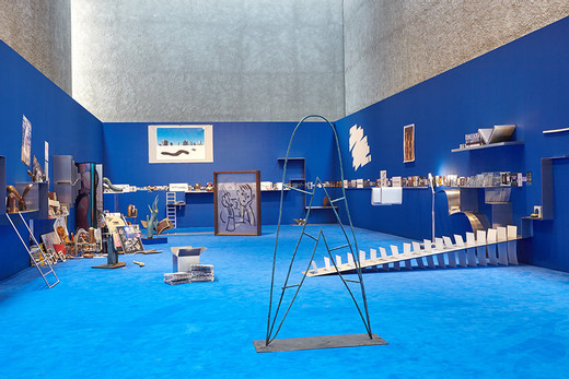 Camille Henrot, The Pale Fox, installation (aluminium, bronze, prints, drawings, with found objects and soundtrack), 2014 - 15, 2,300 x 900 cm