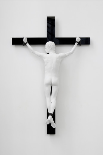 Elmgreen & Dragset, Reversed Crucifix, Aluminum, white matte lacquer, patinated bronze figure on stainless steel, MDF, high-gloss lacquer cross, 2016, 254 x 168 x 40 cm, unique