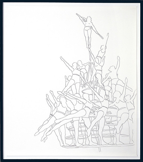 Monica Bonvicini, Women Carrousel, tempera marker on Fabriano paper, framed, 2002, 150 x 130 cm