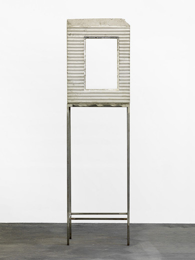 Isa Genzken, Fenster, concrete windows, pedestal, 1990, 225 x 62 x 38 cm, unique