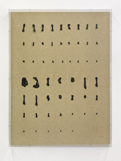 Michael Sailstorfer, Hand und Fuß, rubber, nails, plywood, acryl glass, 2014, 100 x 75 x 9.5 cm, unique