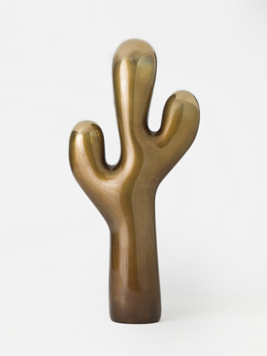 Claudia Comte, The Small Bronze Cactus, sculpture: bronze; plinth: spruce, 2018, 50 x 19 x 9 cm, unique