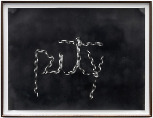 Monica Bonvicini, PITY, spray paint on paper, framed, 2013, 68.50 x 89 x 4 cm