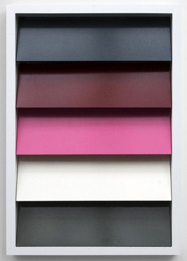 Johannes Wohnseifer, Shutter-Stutter Painting #4 (RAL 7016, 3004, 4003, 9001, 7010), aluminium powder coated, lacquer on aluminium, stainless steel screws, 2009, 145 x 100 x 10 cm
