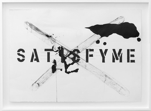 Monica Bonvicini, Satisfy Me, graphite and tempera on Fabriano paper, framed, 1993/2008, 70 x 100 cm