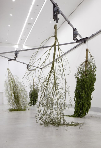 "Michael Sailstorfer, ""Forst"""" (05)"", motor, steel, tree, 2010, dimensions variable, Unique"