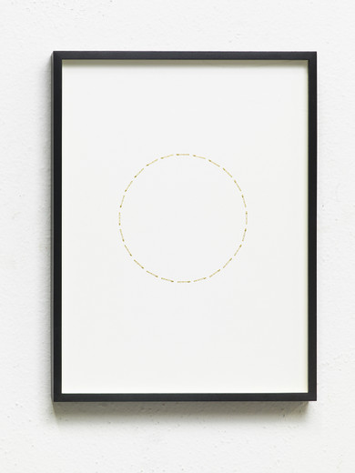 Alicja Kwade, 24 Stunden (ZeitZirkel), brass, nickel-plated, on cardboard, framed, 2017, 41 x 31 x 3 cm, unique