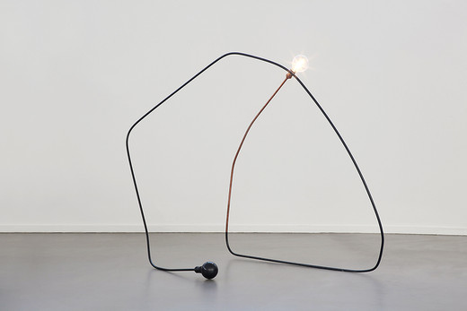Tatiana Trouvé, I tempi doppi, copper-plated metal, paint, patinated bronze, lightbulb, 2014, 123 x 160 x 80 cm, unique