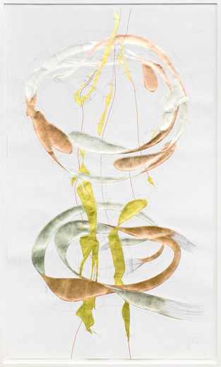 Jorinde Voigt, Position + Inkommunikabilität I, ink, gold leaves, copper foil, oil crayon, pencil on paper, framed, 2014, 240 x 140 cm, unique