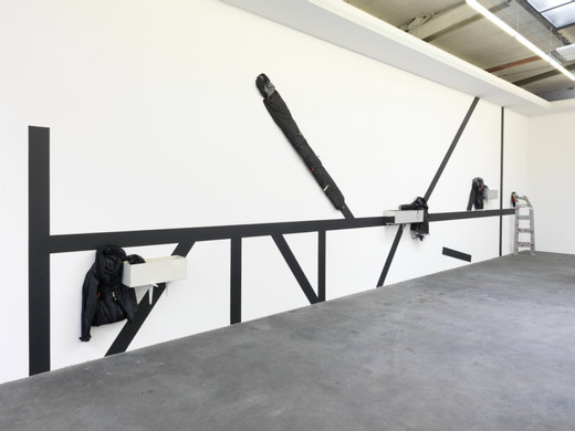 Helen Marten, 38 dishonest tricks, chalk board paint, powder-coated welded steel, galvanized welded steel, chrome-plated welded steel, stitched sleeping bags, cement, soil, sand, pressed steel shelving brackets, rope, eyelets, plastic flower pen, 2011, dimensions variable
