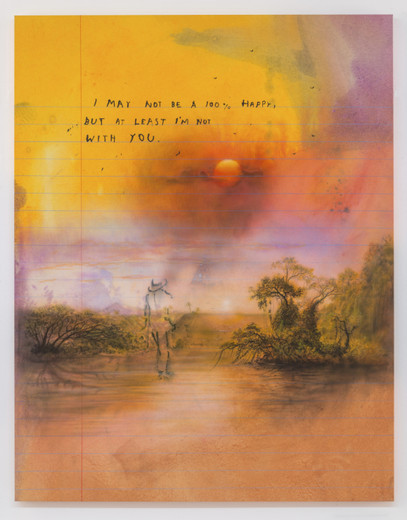 Friedrich Kunath, I may not be 100% happy but at least i'm not with you, Oil and acrylic on canvas, 2014, 64 x 52 cm