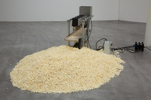 Michael Sailstorfer, 1:43 – 47, Salzburg, aluminium, kevlar, thermal gun, 2012, 109 x 165 x 40 cm dimensions variable
