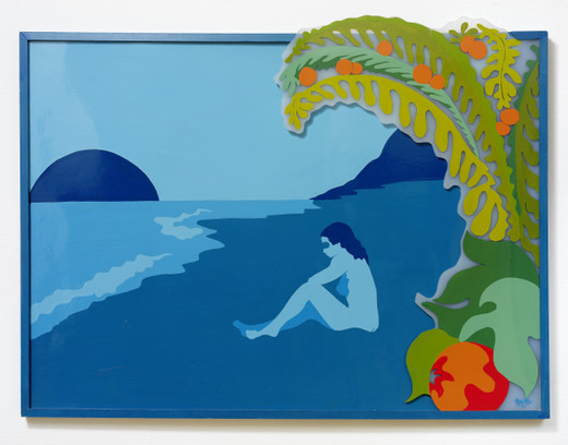 Evelyne Axell, Le fruit, enamel on plexiglas, formica, artist frame, 1967, 97 x 128 cm, unique