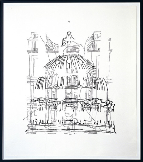 Monica Bonvicini, Saint Peter, tempera marker and graphite on Fabriano paper, framed, 2002, 150 x 130 cm